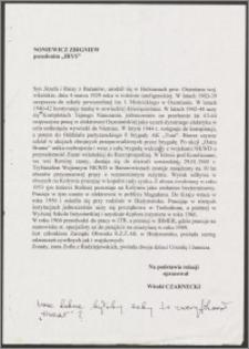 """Życiorys Zbigniewa Noniewicza, ps.""""Irys"""""""