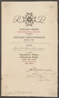 Akt nadania Krzyża Oficerskiego Orderu Odrodzenia Polski – Karolowi Poznańskiemu za zasługi położone na polu pracy konsularnej i dyplomatycznej (27 grudnia 1924 r.)