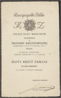 Akt nadania Złotego Krzyża Zasługi – Karolowi Poznańskiemu za zasługi w służbie państwowej