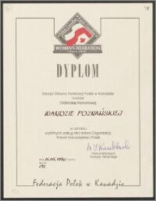 Dyplom nadania Wandzie Poznańskiej Odznaki Honorowej Federacji Polsek w Kanadzie: w uznaniu wybitnych zasług dla dobra Organizacji Polonii Kanadyjskiej i Polski