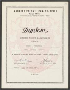 Dyplom nadania Wandzie Poznańskiej złotej odznaki honorowej Kongresu Polonii Kanadyjskiej w uznaniu zasług dla dobra Polonii Kanadyjskiej