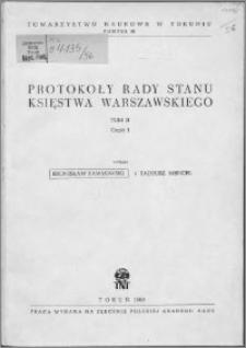 Protokoły Rady Stanu Księstwa Warszawskiego. T. 2, cz. 1