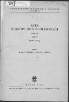 Akta Stanów Prus Królewskich. T. 3, cz. 2, (1498-1501)