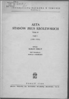 Akta Stanów Prus Królewskich. T. 4, cz. 1, (1501-1504)