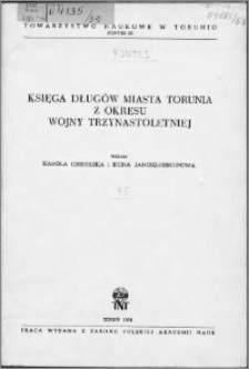 Księga długów miasta Torunia z okresu wojny trzynastoletniej