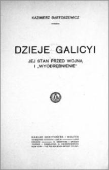 """Dzieje Galicyi : jej stan przed wojną i """"wyodrębnienie"""""""