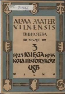 Księga pamiątkowa Koła Historyków Słuchaczy Uniwersytetu Stefana Batorego w Wilnie : 1923-1933