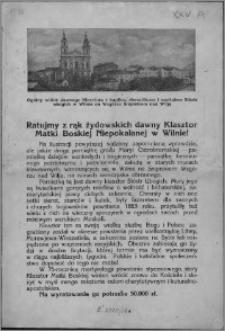 Ratujmy z rąk żydowskich dawny Klasztor Matki Boskiej Niepokalanej w Wilnie!