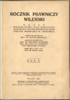 Rocznik Prawniczy Wileński 1931, R. 5