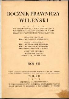 Rocznik Prawniczy Wileński 1935, R. 7