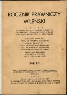 Rocznik Prawniczy Wileński 1936, R. 8