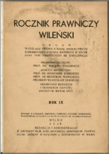 Rocznik Prawniczy Wileński 1938, R. 9