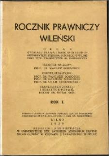 Rocznik Prawniczy Wileński 1939, R. 10