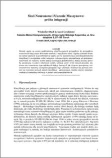 Sieci neuronowe i uczenie maszynowe: próba integracji