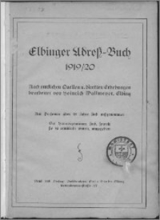 Elbinger Adress-Buch 1919/20