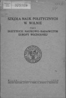 Szkoła Nauk Politycznych w Wilnie przy Instytucie Naukowo-Badawczym Europy Wschodniej
