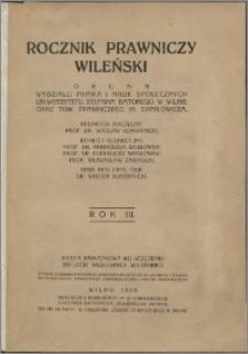 Rocznik Prawniczy Wileński 1929, R. 3
