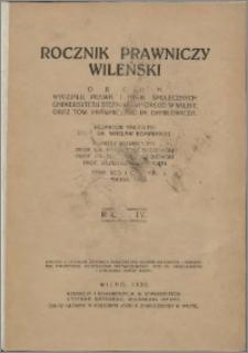Rocznik Prawniczy Wileński 1930, R. 4