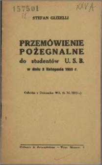 Przemówienie pożegnalne dla studentów U.S.B. w dniu 2 listopada 1933 r