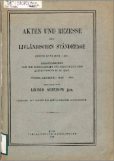 Akten und Rezesse der livländischen Ständetage. Bd. 1, (1304-1459). Lfg. 5, (1450-1454)