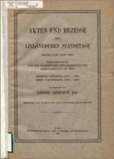 Akten und Rezesse der livländischen Ständetage. Bd. 1, (1304-1459). Lfg. 7, (1458-1459) : nebst Nachträgen (1316-1453)