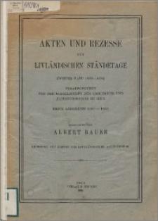 Akten und Rezesse der livländischen Ständetage. Bd. 2, (1460-1494). Lfg. 1, (1460-1467)