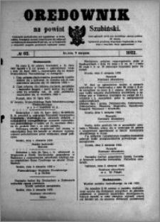 Orędownik na powiat Szubiński 1922.08.09 R.3 nr 62
