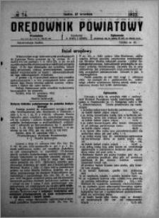 Orędownik Powiatowy 1922.09.27 R.3 nr 74