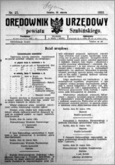 Orędownik Urzędowy powiatu Szubińskiego 1923.03.28 R.4 nr 27