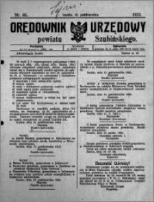 Orędownik Urzędowy powiatu Szubińskiego 1923.10.20 R.4 nr 85