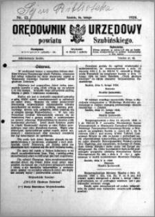 Orędownik Urzędowy powiatu Szubińskiego 1924.02.16 R.5 nr 13