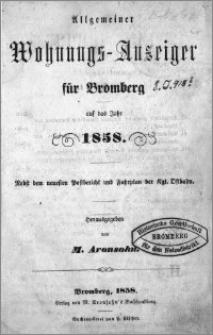 Allgemeiner Wohnungs-Anzeiger für Bromberg : auf das Jahr 1858
