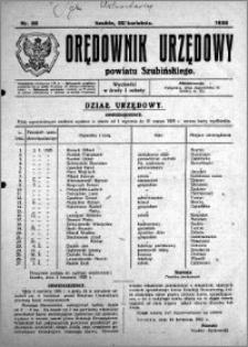 Orędownik Urzędowy powiatu Szubińskiego 1925.04.22 R.6 nr 22