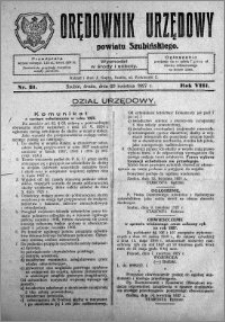 Orędownik Urzędowy powiatu Szubińskiego 1927.04.20 R.8 nr 31