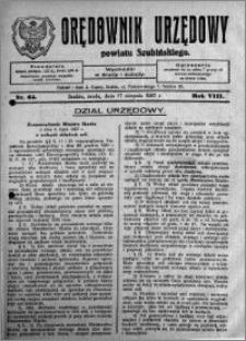 Orędownik Urzędowy powiatu Szubińskiego 1927.08.17 R.8 nr 65