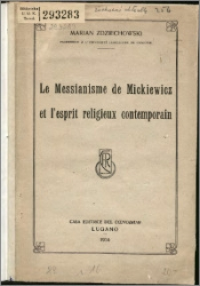 Le messianisme de Mickiewicz et l'esprit religieux contemporain