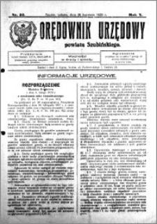 Orędownik Urzędowy powiatu Szubińskiego 1929.04.20 R.10 nr 32
