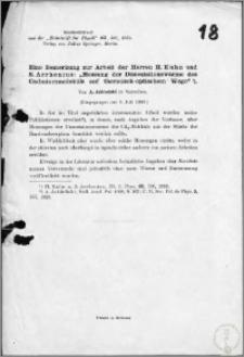 """Eine Bemerkung zur Arbeit der Herren H. Kuhn und S. Arrhenius: """"Messung der Dissoziationswarme des Cadmiummolekuls auf thermisch - optischem Wege"""""""