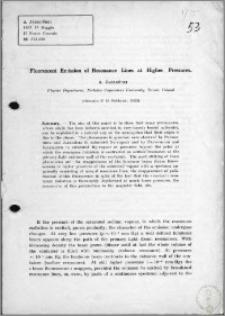 Fluorescent Emission of Resonance Lines at Higher Pressures
