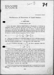 Depolarization of Fluorescence of Liquid Solutions