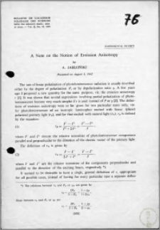 A Note on the Notion of Emission Anisotropy