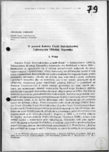 O pracach Katedry Fizyki Doświadczalnej Uniwersytetu Mikołaja Kopernika