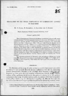 Relaxation of the Local Temperature of Luminescent Centres in Solutions