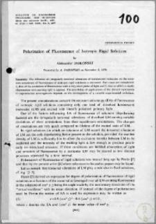 Polarization of Fluorescence of Isotropic Rigid Solutions
