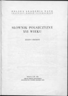 Słownik polszczyzny XVI wieku : zeszyt próbny