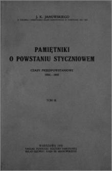 Pamiętniki o powstaniu styczniowem: czasy przedpowstaniowe 1854-1862. Tom 3