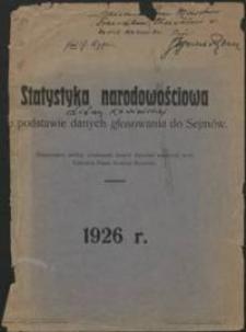 Statystyka narodowościowa Litwy Kowieńskiej na podstawie danych głosowania do Sejmów