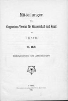 Mitteilungen des Coppernicus-Vereins für Wissenschaft und Kunst zu Thorn. H. 15.