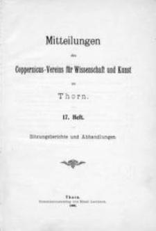 Mitteilungen des Coppernicus-Vereins für Wissenschaft und Kunst zu Thorn. H. 17.