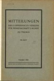 Mitteilungen des Coppernicus-Vereins für Wissenschaft und Kunst zu Thorn. H. 39.